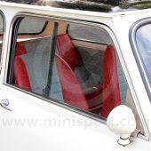 14A9774 Left side, upper door moulding in chrome to suit Mini Mk1-2 models with sliding windows.