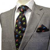 Men's Long Black Silk Tie With Classic Mini design