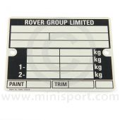 LMG1055S Rover Mini Chassis Number plate, specially reverse stamped to your Minis chassis number plus the paint and trim details, perfect for restoration projects.