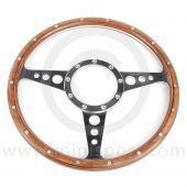 "13"" Flat Woodrim Steering Wheel with Polished Spokes"