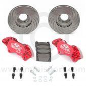 "Paddy Hopkirk 8.4"" Vented 4 pot Alloy Caliper Brake Conversion Road Kit - Red"
