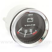 SMIBV2220-00C Smiths Classic voltmeter, 52mm gauge with black face and chrome bezel.