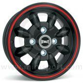 "5.5"" x 12"" black/red pinstripe Ultralite alloy wheel and Yokohama A539 tyre package"