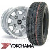 "6"" x 10"" silver Ultralite alloy wheel and Yokohama A008 tyre package"