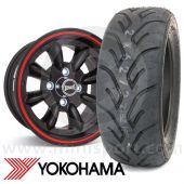 "7"" x 13"" black/red pinstripe Ultralite alloy wheel and Yokohama A048 tyre package"